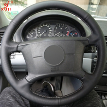 XUJI Black Leather Hand-stitched Car Steering Wheel Cover for BMW E46 318i 325i E39 E53 X5