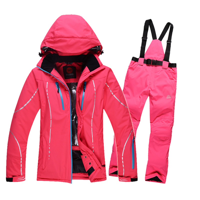Women skiing jackets sets +pants Snowboard clothes thick warm waterproof windproof winter dress skiing jacket outdoor ski suits<br><br>Aliexpress