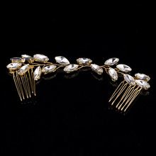 Elegant Rhinestone Frontlet Women Hair Combs Sticks Bridal Silver Golden Headbands Hair Accessories Handmade Wedding Headwear(China)