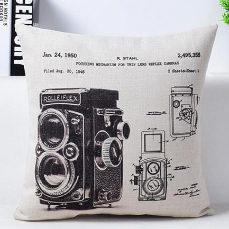 Vintage Camera Newspaper Cushion Cover Pillowcase The Golden Pavilion The Forbidden City Black and Beige Pillow Covers 4