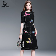 New Fashion 2016 Runway Dress Women's High Quality Half Sleeve Luxury Birds Beading Sequin Black Knee Length Dress
