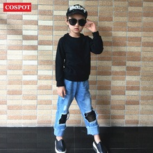 COSPOT Kids Autumn Sweatshirt Baby Boys Girls Plain Gray Black T Shirt Tops Children Fashion Blank Outfits 2017 New Arrival 25D(China)