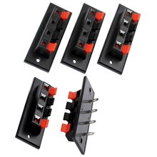 Single Row 4 Position Cable Clip Push Type Speaker Terminals 5PCS