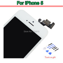100% Tested OEM for iphone 5 5G LCD Touch Screen Digitizer Assembly +With Ori Digitizer Glass+Home Button+Front Camera+ Tools