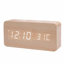 2 Types Wooden Clock Creative LED Environmental Protective Home Furnishing Mini Electronic Alarm Clock Digital Clock(China)