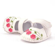 Baby Toddler Girl Walking Shoes Flower Embroidered Soft Prewalker White Pink
