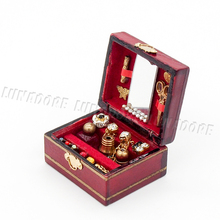 Odoria 1:12 Miniature Jewelry Box Display Case Red Wooden Women Makeup Set Dollhouse Furniture Accessories