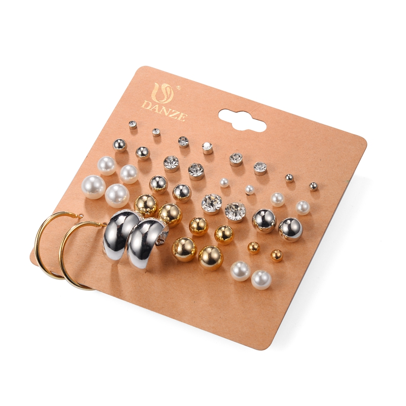 DANZE Punk Pairs Pack Set Brincos Mixed Stud Earrings For Women Crystal Ear Studs Fashion Simulated Pearl Jewelry Wholesale 59