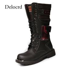 Botas largas de cuero de los hombres de la motocicleta botas altas de la rodilla  botas de combate del ejército de equitación Zap. ac65357885a24