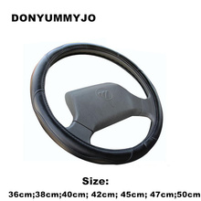 DONYUMMYJO 36-50cm Black Imitation Sheepskin Steering Wheel Cover for Car Bus Truck, 36 38 40 42 45 47 50cm Diameter