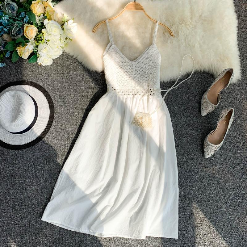 19 new fashion women's dresses Fresh openwork knit stitching V-neck strap high waist dress 6