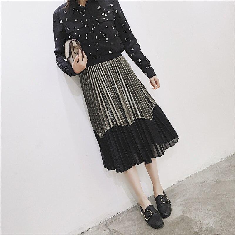 [GUTU] Autumn Summer 2018 Korean New Fashion Patchwork Color Bottoms All-match Elastic Waist Pleated Skirt Loose Women F89201 20