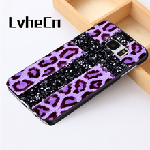 LvheCn phone case cover For Samsung Galaxy S3 S4 S5 mini S6 S7 S8 edge plus Note2 3 4 5 7 8 Bling Leopard Cross Purple Print(China)