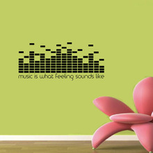 Art Decor Music Is What Feeling Sounds Like Wall Stickers DJ Equalizer Home Decor Vinyl Adhesive Wall Decals M463