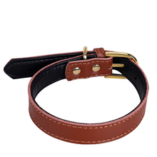 Dog Leather Collar Puppy Cat Pet Dog Collar Cute Neck Strap Gold Buckle Solid Cowskin Genuine Leather Pet Collar