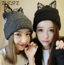Winter High-quality Diamond Can Ailei Si Cat Ears Wool Hat Knitted Hat Female Hot Explosion Models Meng Department
