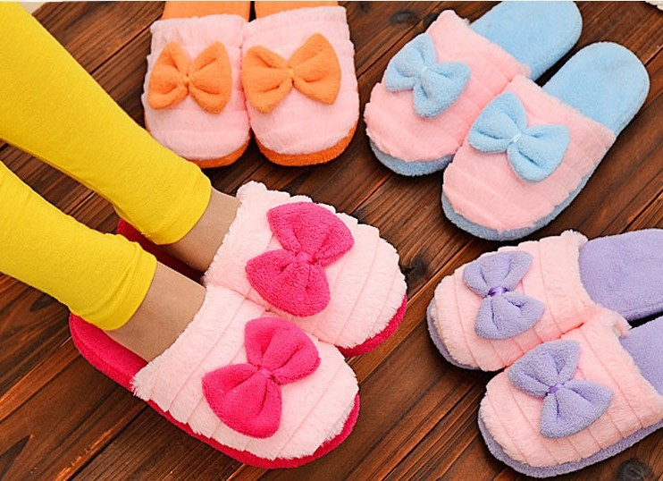 Home slippers Factory Direct Pantufas Large Bow Love Slippers Women Winter Warm Cotton Fabric Slippers Indoor Home Floor Shoes<br><br>Aliexpress