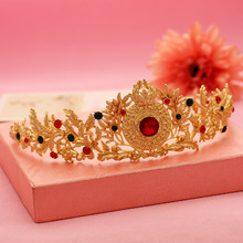 2016 New Arrival Princess Gold hairpin wedding bridal flower hair tiaras and crowns Headpiece Colorful Crystal Hair Jewelry
