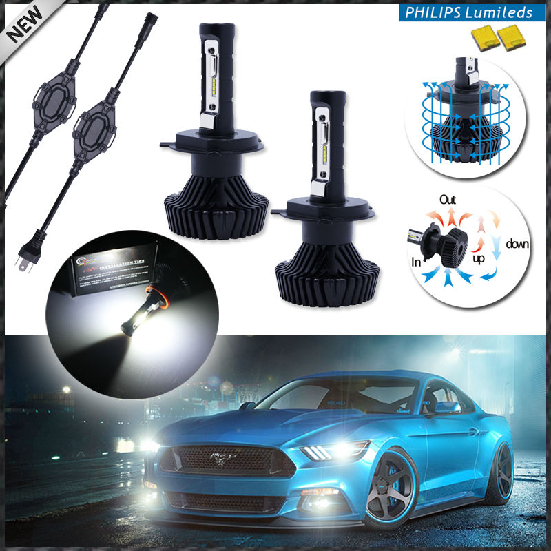 High Power LED Headlight Bulbs - H4 Hi/Lo - 6000K Xenon White, Powered By Philips Luxeon LED with Removable Fan-less Heatsink<br><br>Aliexpress