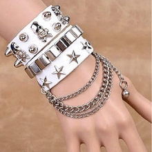 Europe United States Fashion Multi-Layer Skin Width Bracelet Personality Skeleton Rivets Punk Street Dancing Handring Jewelry