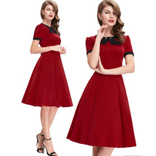 2017 hot sell ladies peter pan collar solid short sleeve cute a-line casual dress Summer Audrey Hepburn Vintage Elegant XXL Dres