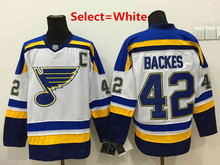 cheap CHEAP Mens #42 David Backes Blue Green White Home   Embroidery Hockey Hoodies Jerseys High Quality