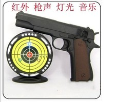 Kid's Outdoor Toy Plastic Electric Infrared Cap Pistol With Tyre Target Flash Music Light Toy GunTarget Competition Turntable