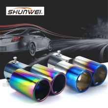 1 to 2 Dual Pipe Car Auto Round Exhaust Muffler Tip Stainless Steel Chrome Trim Modified Car Rear Tail Throat Exhause(China)
