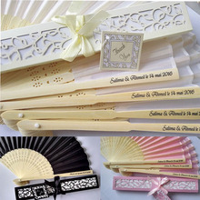 DHL Customize Personalized Bride & Groom's name & date Silk Folding Hand Fan Laser Cut Gift Box Wedding Baby Shower Gifts