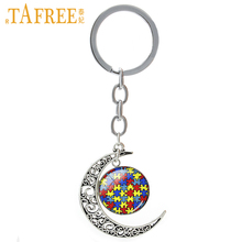 TAFREE Autism Heart charms keychain Autism Awareness Jigsaw Puzzle Pieces jewelry love autist child lovely kids key chain T525(China)