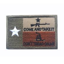 Embroidery Patch Texas State Flag Lonely Star Come And Take It Don't Tread On Me Military Morale Patch Emblem Embroidered Badges(China)