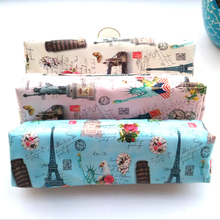 Fashion tower pencil case for girls Cute PU Leather clock pen bag for kids gift Korea Stationery pouch school supplies Zakka