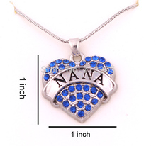 1 inch*1 inch latest style 30pcs a lot rhodium plated big hearts NANA with blue crystals heart pendant necklace(China)