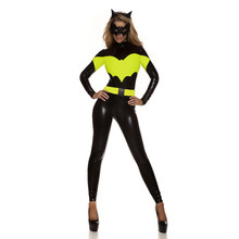 Vocole Women Sexy Halloween Batman Superhero Cosplay Jumpsuit Faux Leather Long Sleeves Costumes With Mask Batgirl Fancy Dress