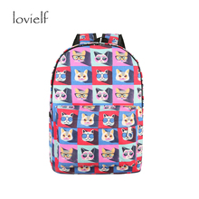 lovielf Large Capacity cute cartoon creative novelty Canvas vintage travel Cat Backpacks Colorful Canvas Kitty School Bags Girl(China)