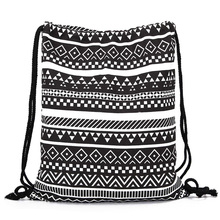 National Women Canvas Drawstring Shoulder Bags Newest Vintage College Students School Handbags Girls Casual Sack Bag Handbags