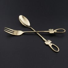 2 pcs/set Hot Sale Tableware tainless Steel Butterfly Handle Coffee Tea Desert Spoon Smooth Flatware
