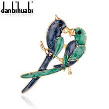 Vintage Dual Bird Parrot Brooches Expoyed Alloy Brooch Pin Garment Accessories