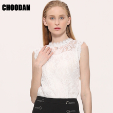 Lace Blouse Shirt Women Summer Style Blouses 2017 New Korean Sleeveless Solid Hollow Out Pink Blue White Black Lace Top Female(China)
