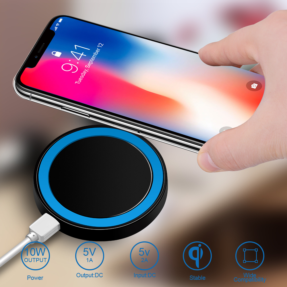 Proelio Mini Qi Wireless Charger USB Charge Pad Charging For iPhone X 8 8 Plus Samsung Galaxy S6 S7 Edge S8 Plus Note 5 8 Nokia (17)