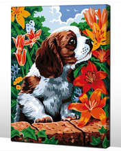 Frameless picture DIY new arrival diy digital oil painting abstract 40 50 paint by number kits Flower and puppy