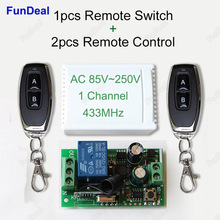 433Mhz Universal Wireless Remote Control Switch AC 85V~250V 110V 220V 1CH Relay Receiver Module and 2pcs RF 433 Mhz Transmitter