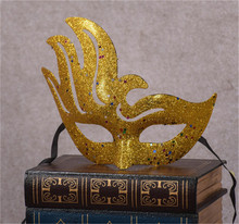 High quality fashion mask gold shining plated party mask wedding props masquerade mardi gras mask 6pcs sale