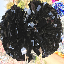 "Free Fast Shipping Pom pom Cheerleader Metallic Black Poms 1,000*3/4"" *6"" sizes Shinny Custom Color Game Poms"