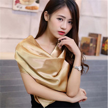 90cm * 90cm women's scarf solid color foulard square Bandana brand high quality imitation silk satin Hijab