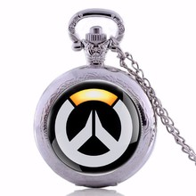 2017 Hot Fashion&Famous Game Theme Overwatch Pocket Watch Necklace Men Women Pendant Boys Gifts