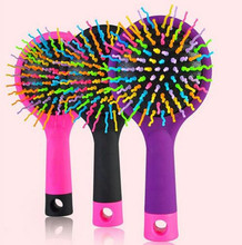 New 2016 Rainbow Comb Baby Tangle Brush Volume Brush Magic Hairbrush for Hair Tangle Hair Brush Women Comb Candy With Mirror(China)