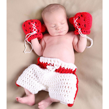 1 Set Baby Photography Clothing Infant Crochet Boxing Outfit Newborn Photo Props