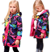 2017 Girls Clothes Girl Jackets Children Coat Kids Spring Outerwear teenager Camo Hooded Windbreaker Thin Waterproof Trench Coat(China)