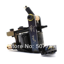 2016Professional Casting Iron Tattoo Machine 10 Wraps coil stainless steel Tattoos Body Art Gun Makeup Tool free shipping